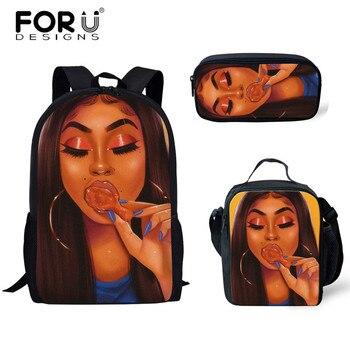 FORUDESIGNS Girls School Bags African Black Girls Hairstyle School Backpack Set Scool Bag For Girl Kids Girl Backpack Junior Bag 28