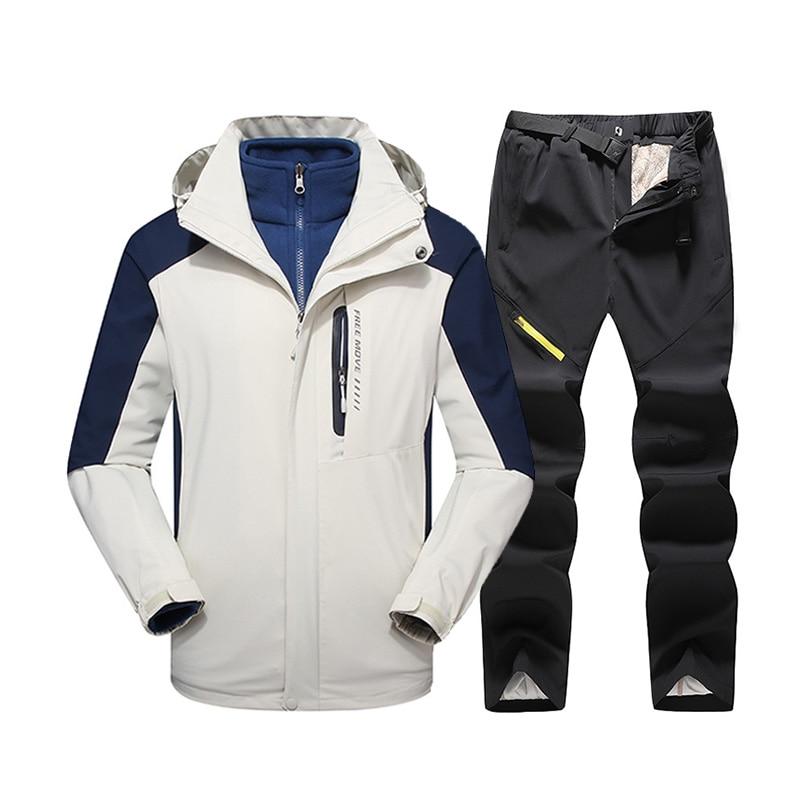New Ski Suit For Men Windproof Waterproof Warmth Ski Jacket Pants Snow Clothes Winter Skiing And Snowboard Jacket Men's Ski Suit