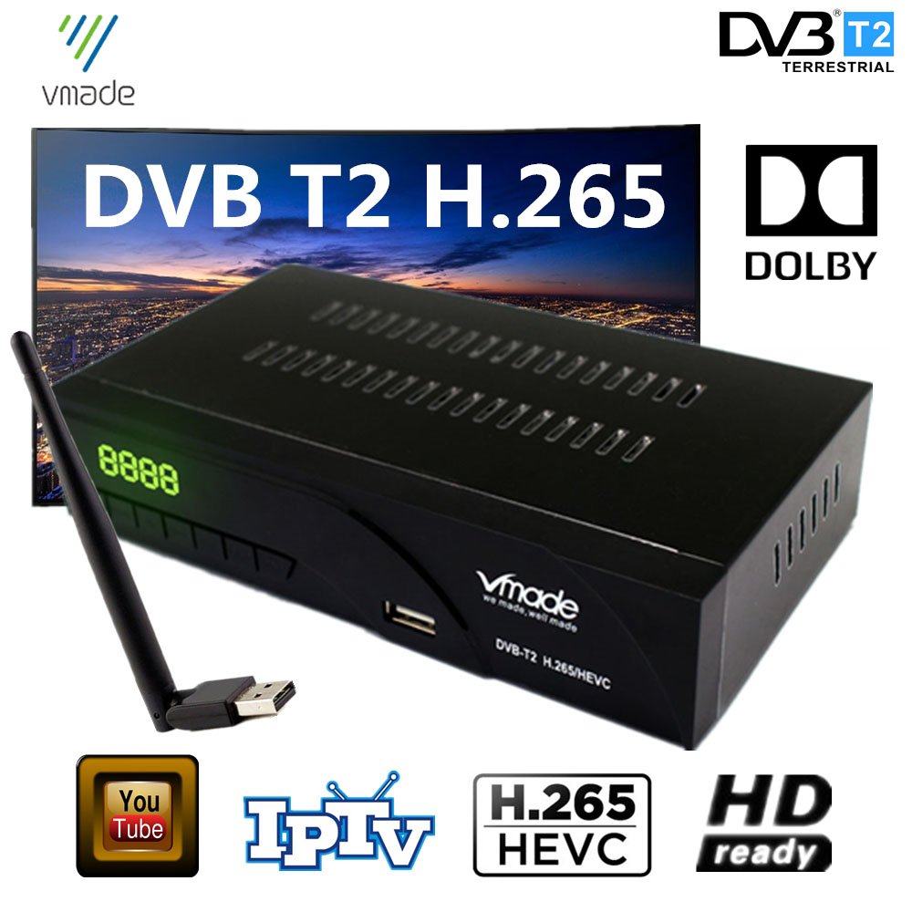 Hot Selling Czech Republic Germany Netherlands DVB T2 In Terrestrial HD TV Receiver H.265 Support Dolby IPTV Receptor With Wifi