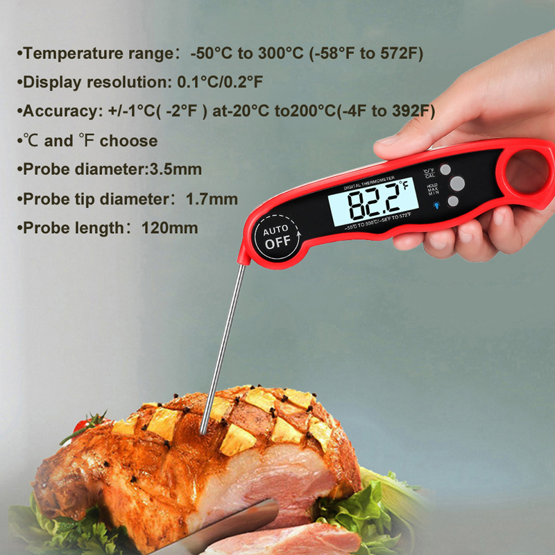 EAAGD Waterproof and Instant Read Food Thermometer with Calibration and Backlight Functions including Long Folding Probe 4