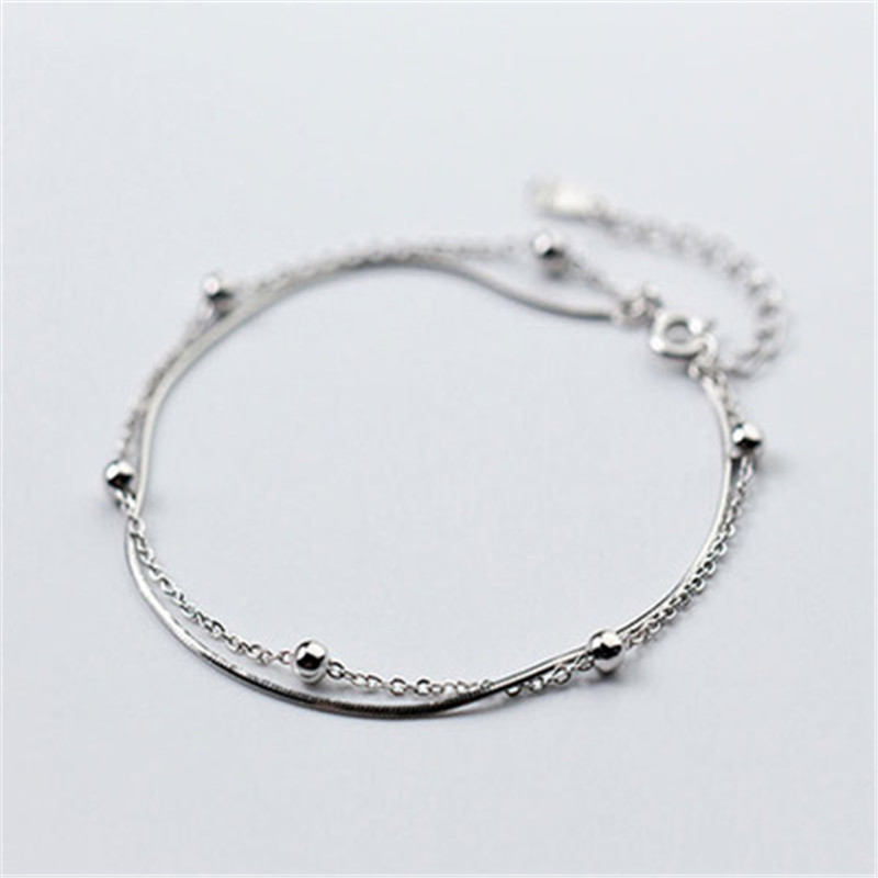 925 silver bracelet Silver bean double jewelry fashion and personality Holiday gifts Womens
