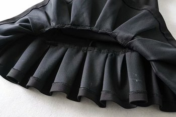 New women basic black mini skirt high waist belt back zipper hem pleated skirt solid fashion female casual skirts mujer QUN547 6