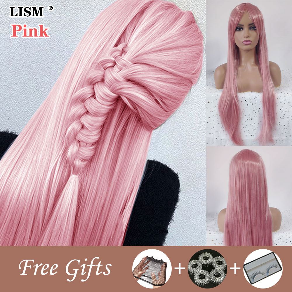 Long Straight Wave Wig Peluca De Mujer Perruque Naturelle Synthetic Cosplay Pink Wigs With Bangs Peruki Postiche Cheveux Naturel
