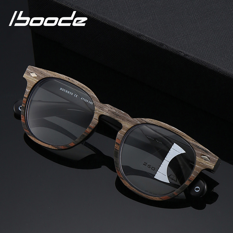 Iboode Retro Round Wood Grain Reading Glasses Men Progressive Multifocal Presbyopic Glasses Near Far Sight Diopter +1 1.5 2 2.5