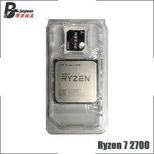 Amd ryzen 7 2700 R7 2700 3.2 ghz 8 コアシックスティーンスレッドcpuプロセッサL3 = 16 メートル 65 ワットYD2700BBM88AFソケットAM4 新なくファン