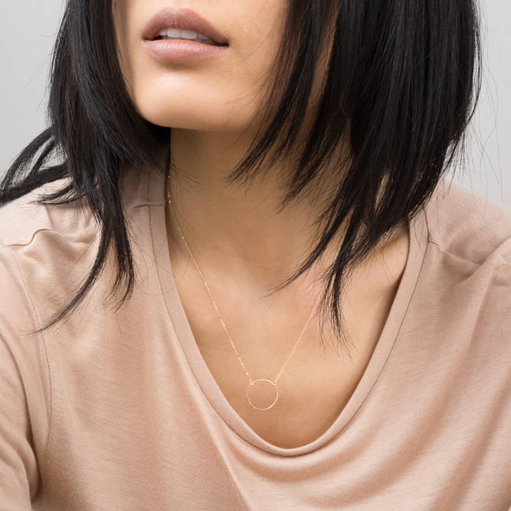 eManco 316L Stainless Steel Necklace women Minimalist Chokers Necklace for women Rose-Gold Color Necklace