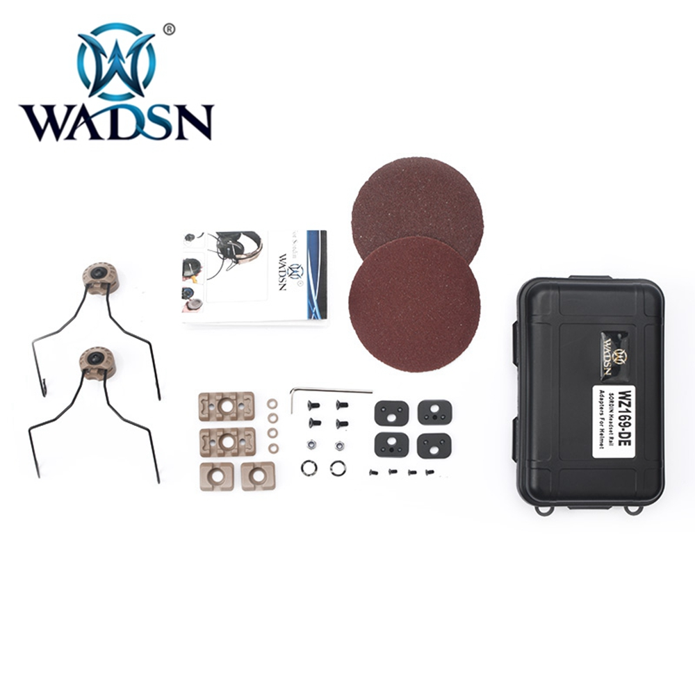 wadsn tatico serie sordin fone de ouvido ferroviario adaptadores conjunto tiro caca capacete fone de ouvido