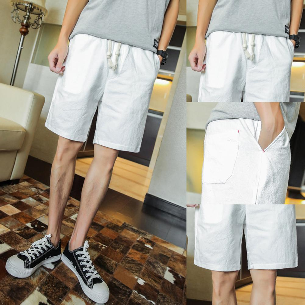 Solid Color Linen Shorts Summer Men Beach Surfing Sports Drawstring Fifth Pants