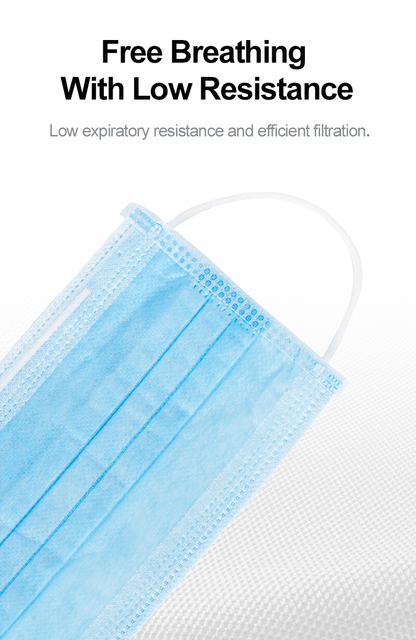 High Quality Dropping 50pcs 100PCS  Non Woven Disposable Face Mask 3 Layers  Face Masks Ear loop Mouth Mask 1