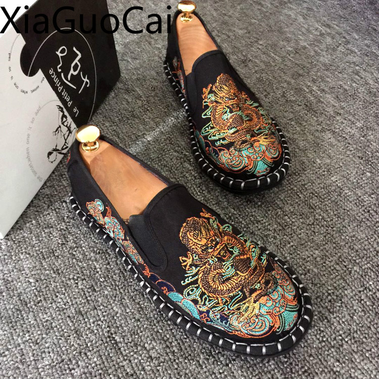 Embroidered Men's Casual Loafers Summer Fashion Slip On Male Canvas Shoes Lightweight Breathable Flat Shoes