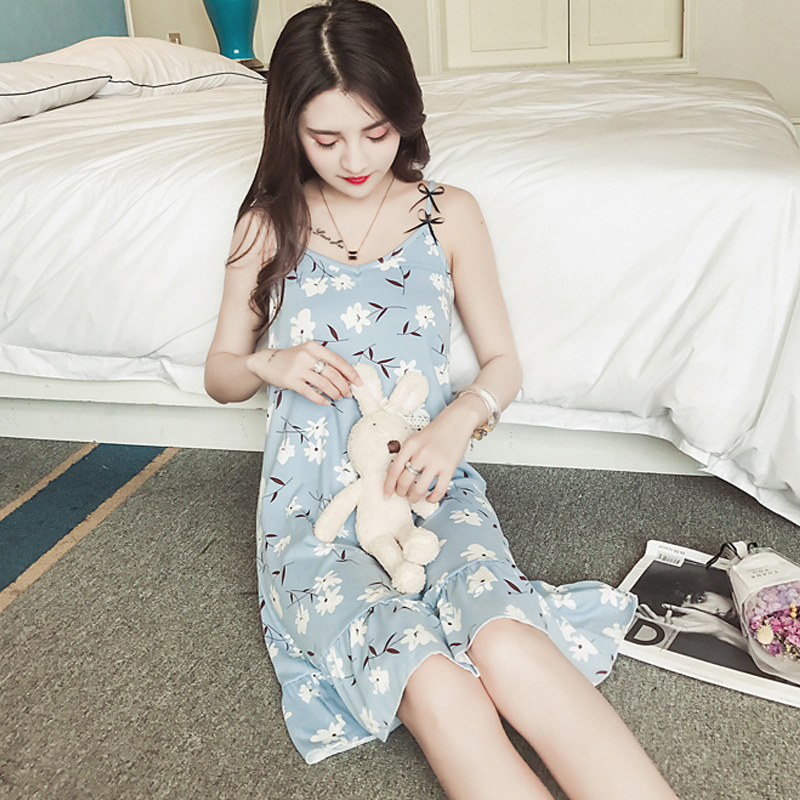 Women's Slip Nightdress Summer Pajamas Korean-style Sexy Sweet Strawberry Qmilch Thin Home Wear Send Eye Patch
