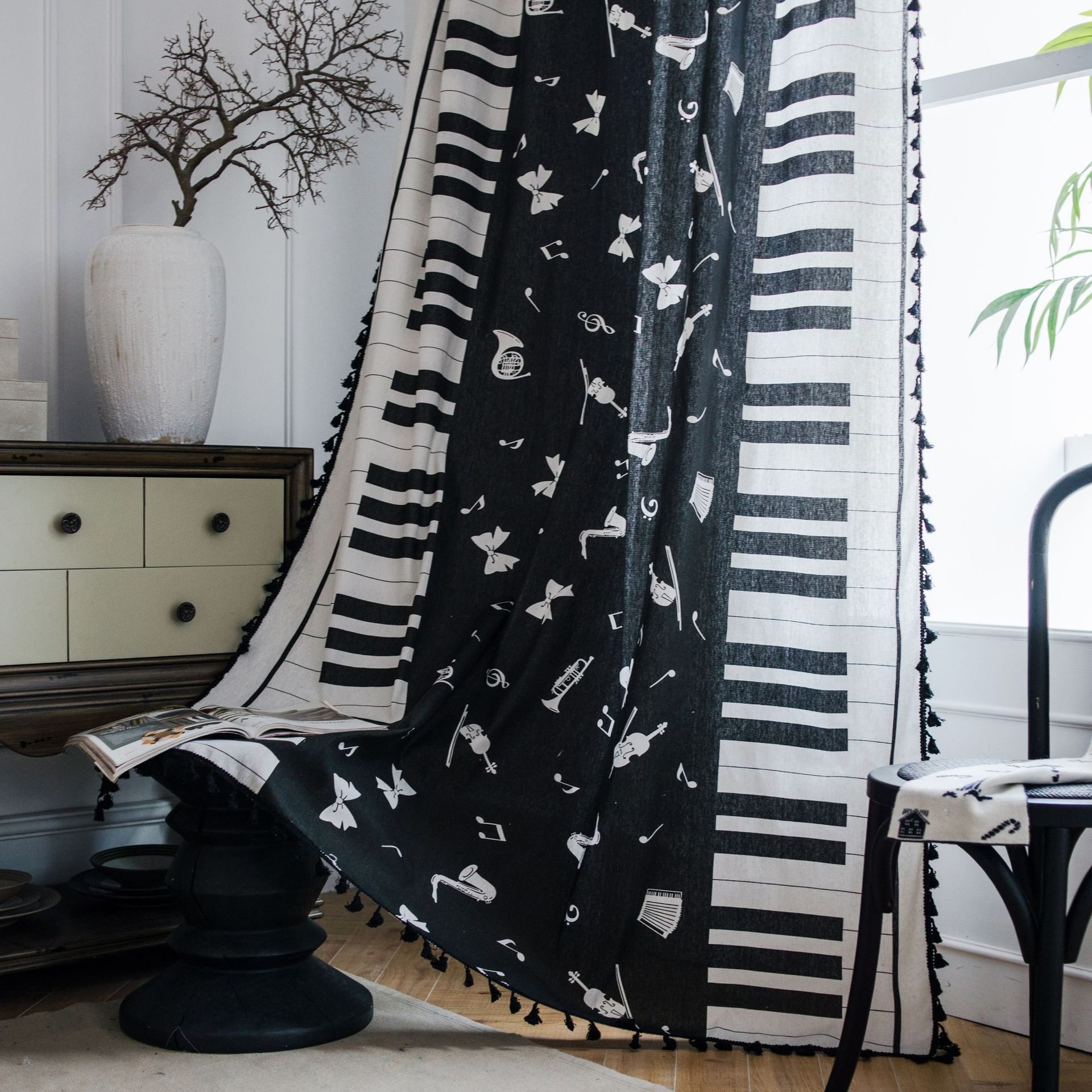 Black And White Music Piano Note Curtain For Living Room Blinds Bedroom Bay Window Cotton Linen Curtain Tulle With Tassel Curtains Aliexpress