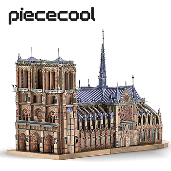 Piececool 3D metalowe puzzle układanki katedra Notre Dame paryż DIY zestaw klocków zabawki dla dorosłych prezenty urodzinowe tanie i dobre opinie 18 + CN (pochodzenie) Unisex 3D PUZZLE