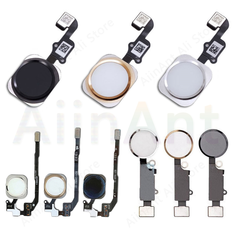 Home-Button Flex For iPhone 6 6s 7 8 Plus 5s SE Return Back Home Button With Flex Cable No Touch ID Fingerprint image