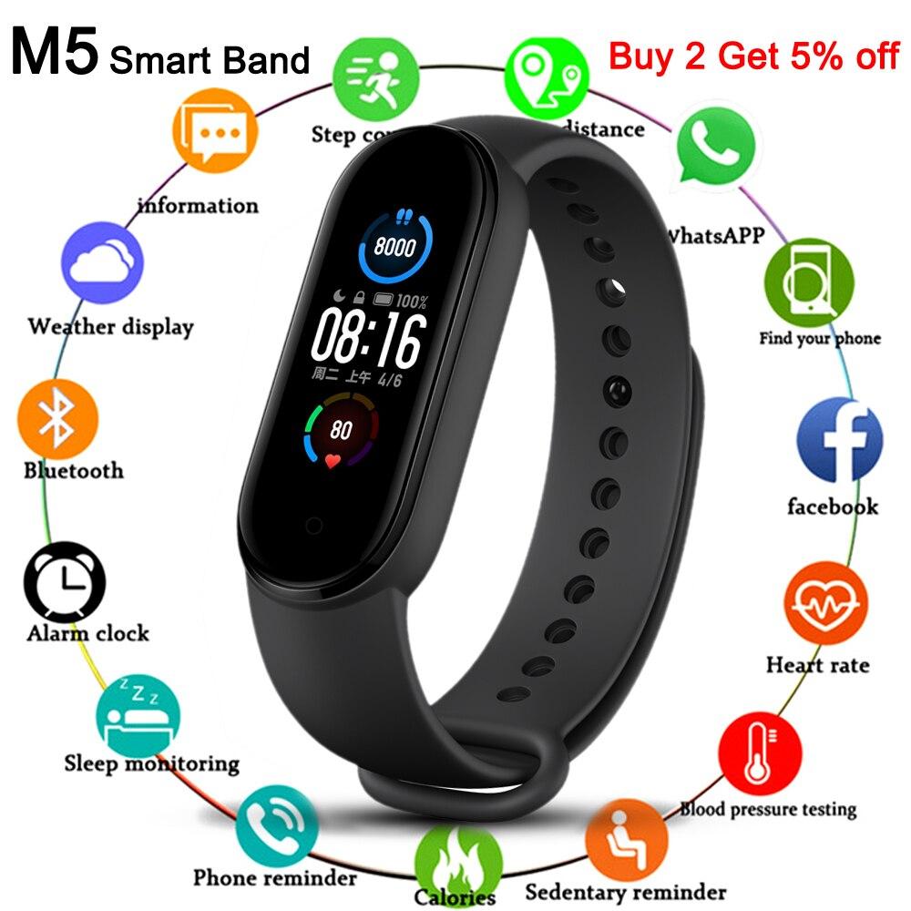 Nouveau M5 Bracelet intelligent hommes Fitness Bracelet intelligent femmes sport Tracker Smartwatch jouer musique Bracelet M5 bande pour Adriod IOS