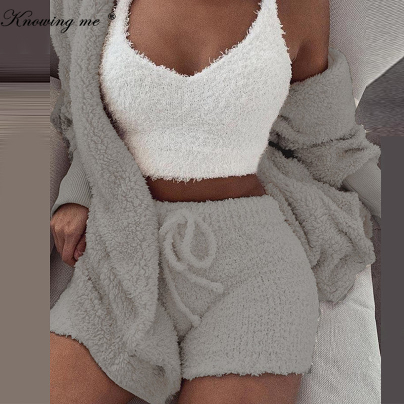 Winter Warm Knitted Fleece Suit Sets Autumn Long Sleeve Hooded Cardigan Coat Outwear + Shorts Pants Outfits Suits Dropsipping