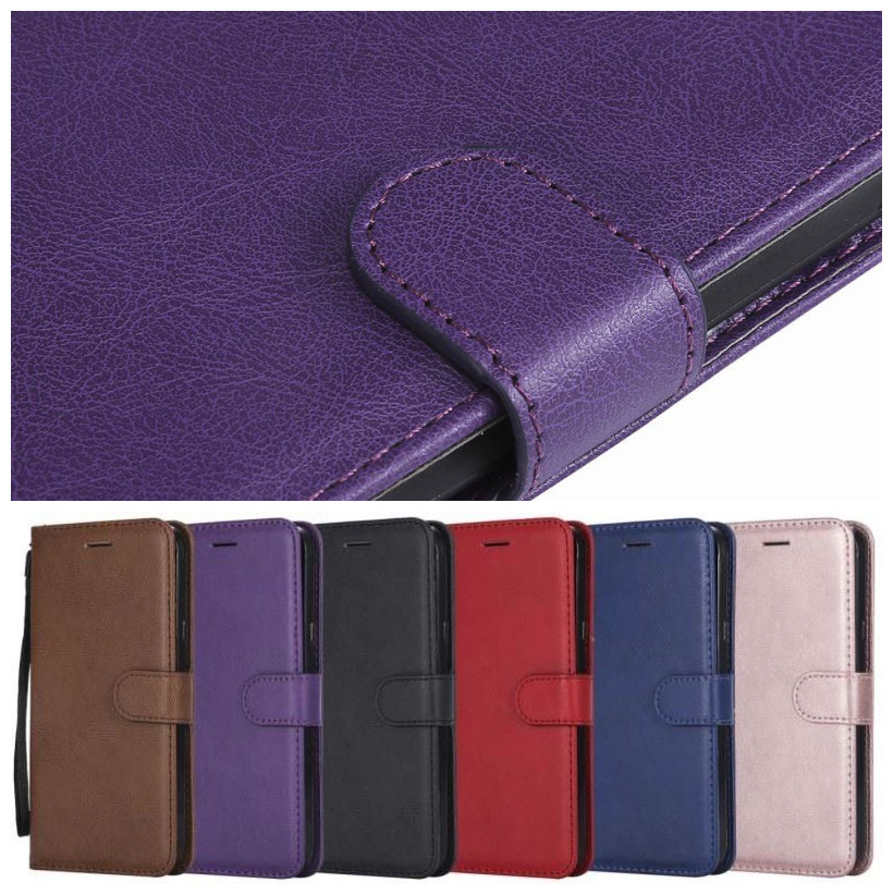 Simple Phone Bags Flip Case For Samsung Galaxy A310 A320 A40 A50 A510 A520 A70 A750 A80 A920 Girl Solid Color Leather Cover P06E image