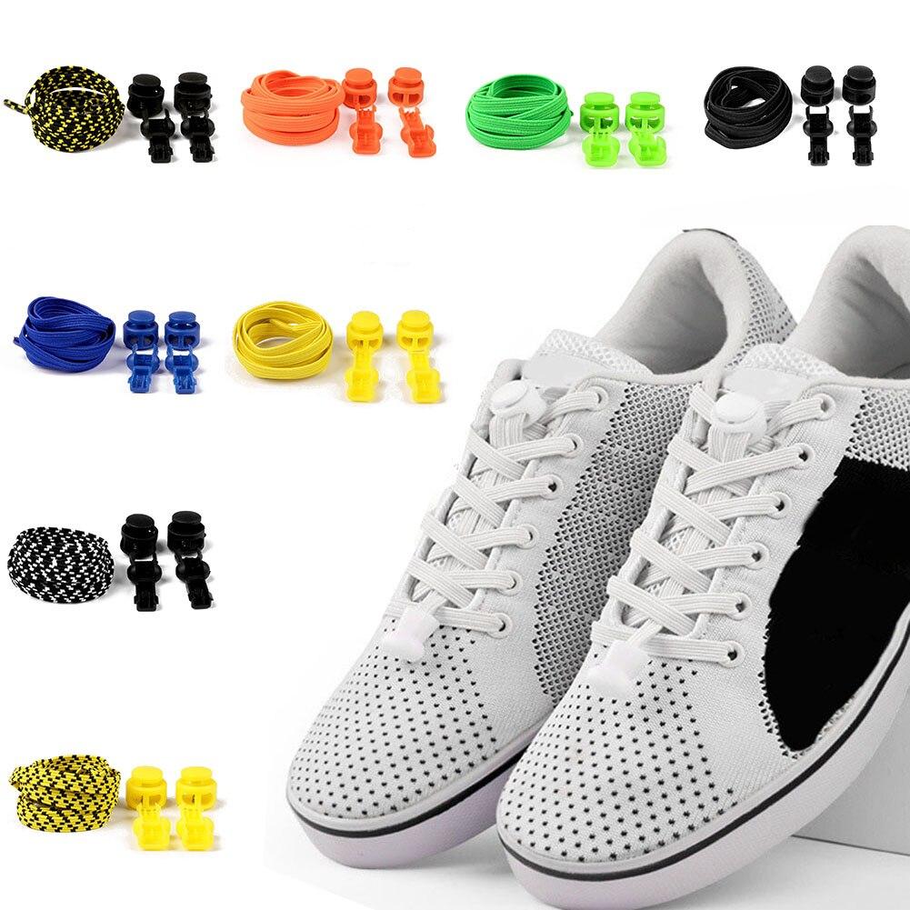 A Pair Of Slidable Novel Convenient Elastic Shoelaces Fashion Locking Shoelaces Summer New Unisex Sneaker Shoe Laces Hot Sale