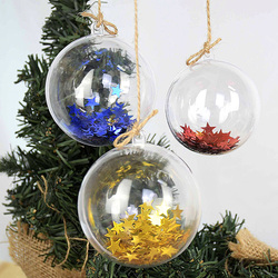 10Pairs 4-7cm Christmas Tree Decorations Balls Transparent Open Gift Present Box Hanging Ornament Christmas Decorations for Home