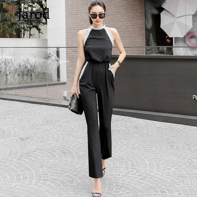 Summer Off Shoulder Romper Jumpsuit 2020 New Women Office Ladies Beaded Boot Cut Jumpsuit Female Fashion Black Overalls