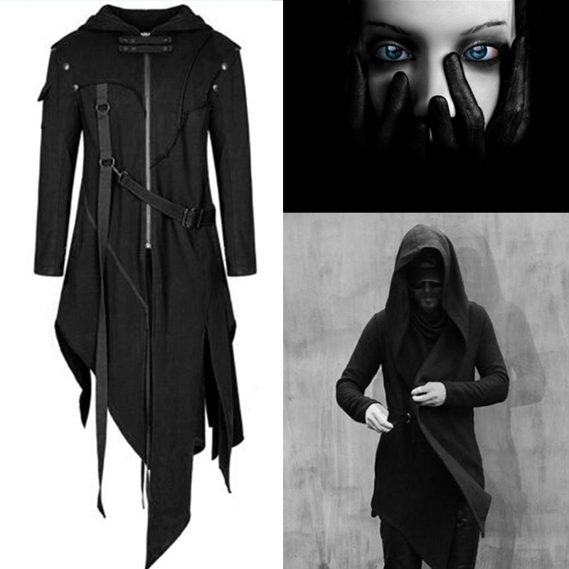 Devil Fashion Men Gothic Hooded Jacket Coat Black Diesel Punk Assassin Creed Cosplay Costume Halloween Women Cloak Cardigans