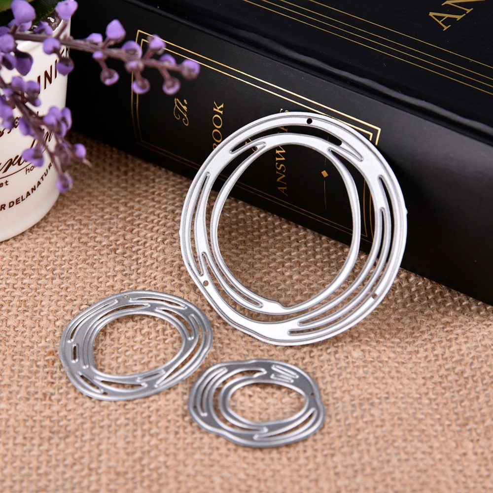 Circle Ring Cutting Dies 3pcs Annulus Decoration Metal Mold Scrapbook Embossing Paper Craft Knife Mould Stencil Stamps And Dies