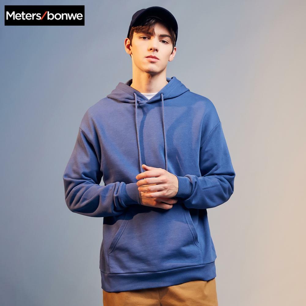 Metersbonwe 2020 新春ベースパーカー男性フード付きスウェット高品質ソリッドユニセックススケートボードパーカー