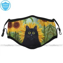 With Cat Mouth Face Mask Dan De Lion With Sunflowers Facial Mask Funny Fashion with 2 Filters for Adult