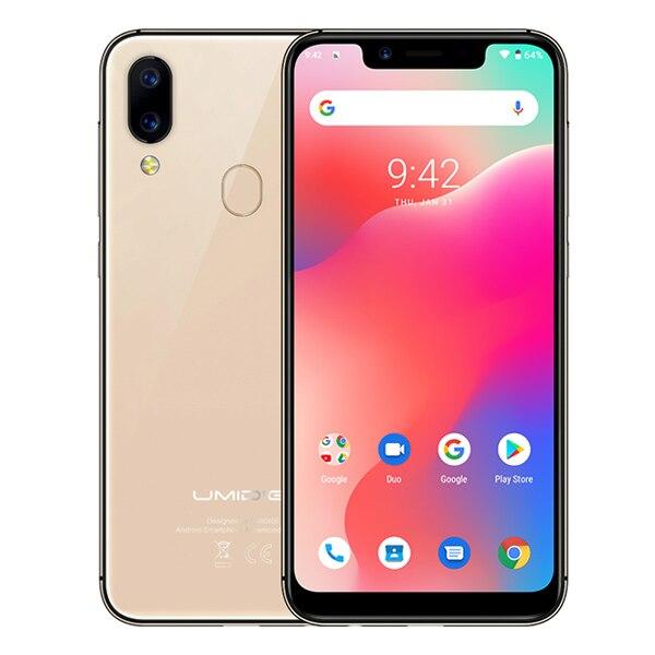 """Смартфон UMIDIGI A3 Pro Android 9,0 с полным экраном 5,"""" 19:9 3 ГБ ОЗУ 32 Гб ПЗУ четырехъядерный 12 Мп+ 5 Мп разблокировка лица двойной 4G - Цвет: Gold"""