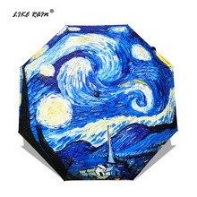 LIKE RAIN de Van Gogh Pintura A Óleo Guarda chuva Chuva Paraguas Sombrinha de Artes Criativas Das Mulheres Da Marca Feminina Sol E Chuva Chuvas YHS01