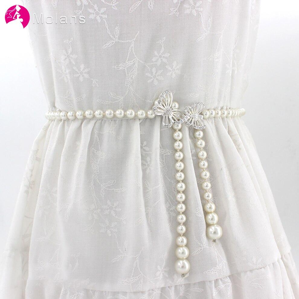 Molans Rhinestone Belts for Women Pearl Belt Waist Belt Elastic Buckle Pearl Chain Belt Girls Bride Dress Wedding Accessories