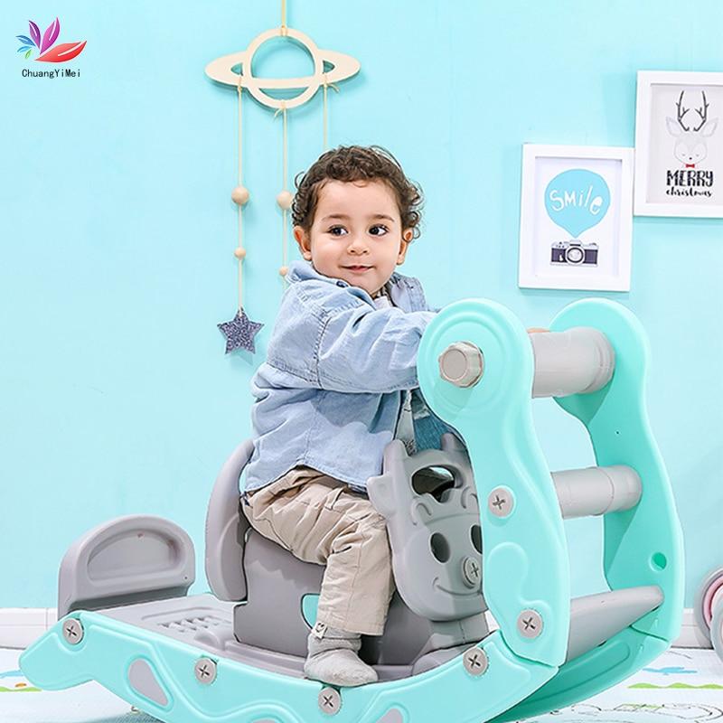 Baby Rocking Horse Chair Children's Slide Ride Indoor 2 In 1 Indoor Home Baby Playground Toys Multifunction Birthday Gift M029(China)