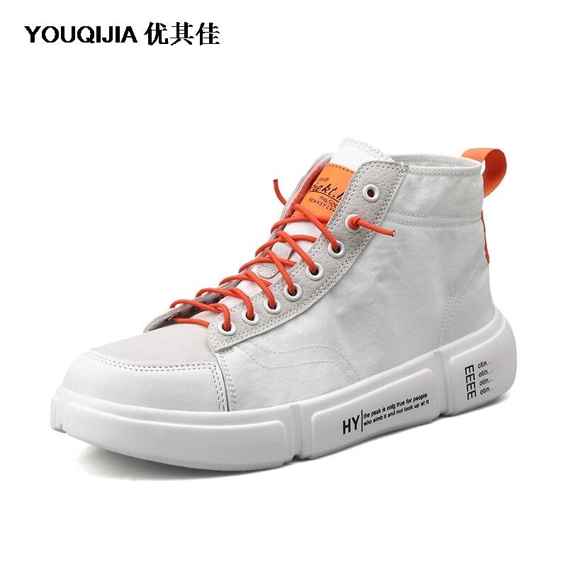 Модная белая мужская парусиновая обувь YOUQIJIA Мужская обувь для отдыха на плоской подошве обувь для скейтборда дышащие Лоферы для отдыха в... - 4