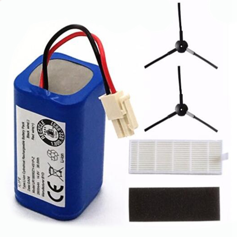 Rechargeable <font><b>Battery</b></font> 2x Filter+2 x Brush <font><b>14.8V</b></font> <font><b>2800Mah</b></font> Robotic Vacuum Cleaner Accessories Parts for Chuwi Ilife A4 A4S A6 image