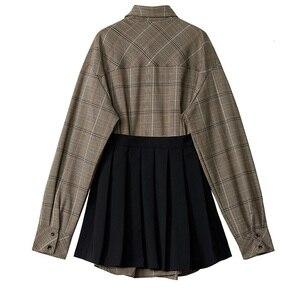 Image 5 - [Eam] feminino xadrez plissado dividir duas peças camisa vestido nova lapela manga longa solto ajuste moda maré primavera outono 2020 1d7110