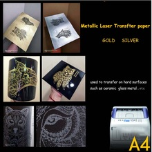 A4 wholesale metallic gold laser no cut self weeding heat transfer paper for mugs ceramic tiles trophies and medals