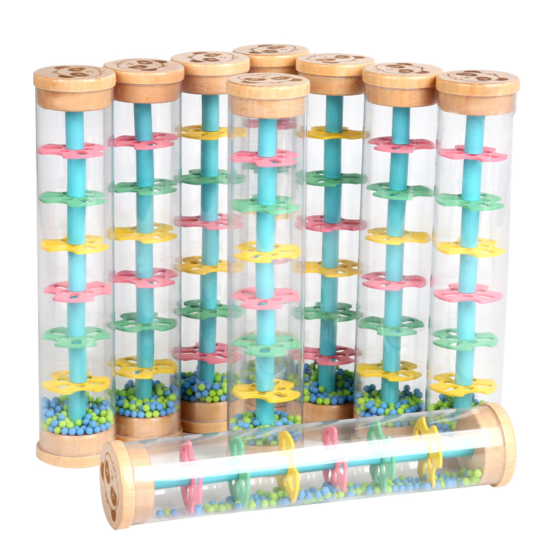 Montessori Raindrop Sound Toy Instrument Plastic Rainbow Hourglass Rain Maker Rain Stick Toy Kids Educational Toys