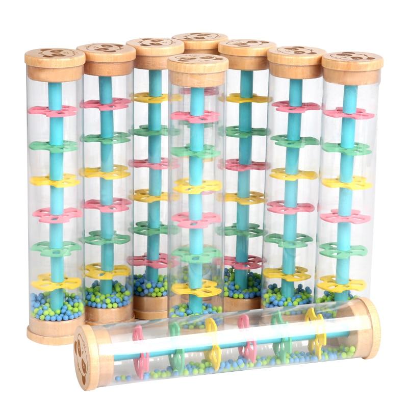 Montessori Raindrop Sound Toy Instrument Plastic Rainbow Hourglass Rain Maker Rain Stick Toy Kids Educational Toys