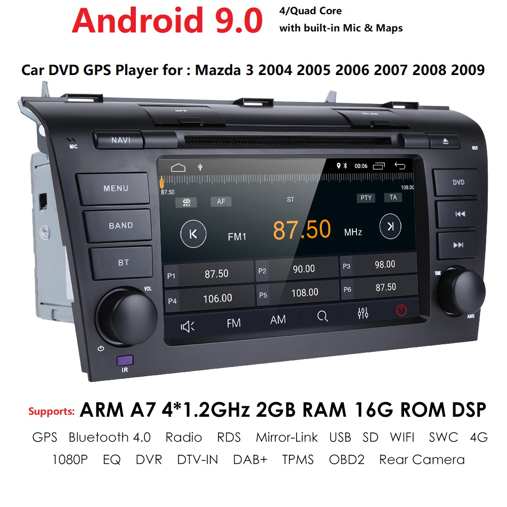 hizpo Android 9.0 2G RAM 16G ROM Quad Core Car DVD Player <font><b>GPS</b></font> <font><b>Map</b></font> RDS Radio tape recorder wifi BT For <font><b>Mazda</b></font> <font><b>3</b></font> 2003-2009 on-board image