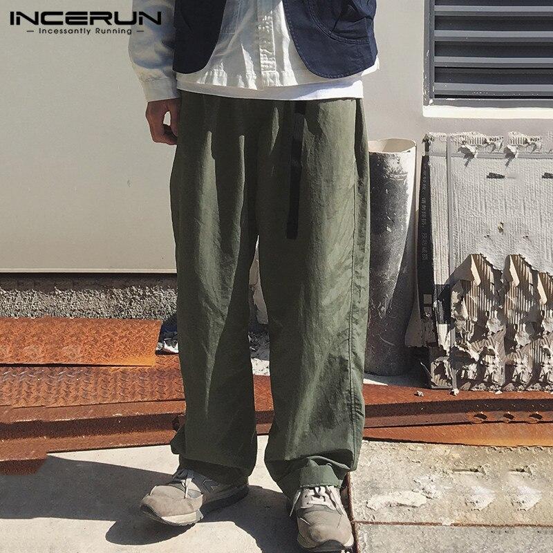 Vintage Men Wide Leg Pants Cotton Plain Streetwear Belt Joggers Casual Pants Harajuku Loose Long Trousers Men Plus Size INCERUN