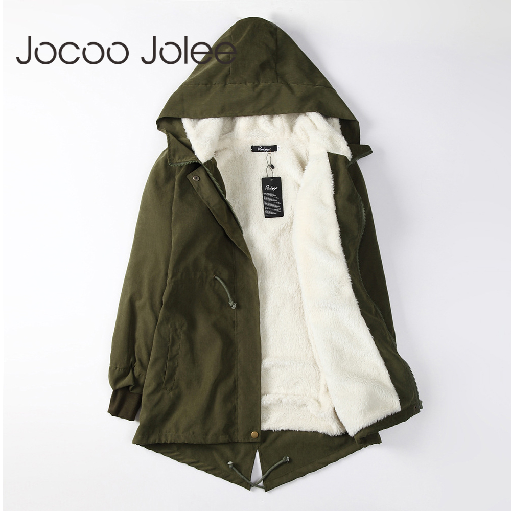 Jocoo Jolee Women   Parkas   Winter Coats Hooded Thick Cotton Warm Female Jacket Fashion Mid Long Wadded Coat Outwear Plus Size 5XL