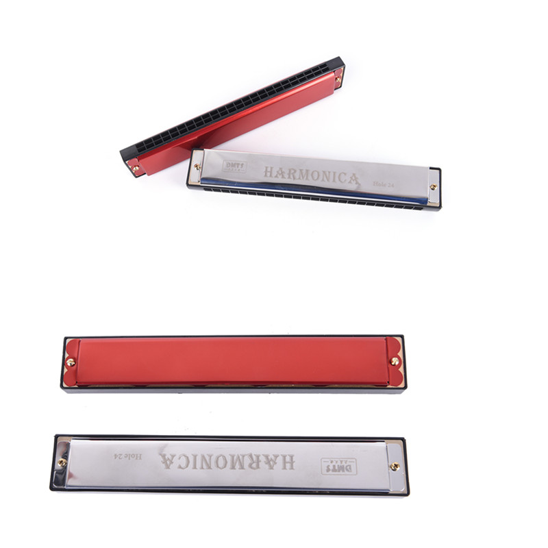 Gmarty 24 Hole Key Of C Play Harmonica Tremolo Harmonica Mouth Organ Double Row For Musical Beginner
