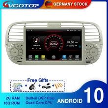 Avgotop android 10 multimédios do jogador do carro de bluetooth gps para o rádio do veículo de fiat 500 2g 16g