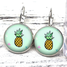 Fashion Cute Pineapple Candy Color Glass Cabochon Earrings Photo Dome Charm Girl Friend Gift Souvenir