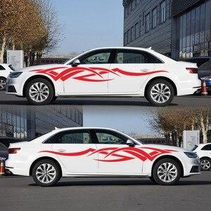 Image 3 - 2 adet vinil çıkartması araba vücut yan Wrap alev kabile grafik bel hattı Sticker yüksek kalite araba çıkartmaları yeni