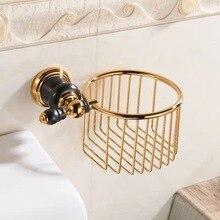 Черный нефрит основа туалет рулон бумага корзина золотой латунь ванная ящик для хранения вешалки круглый