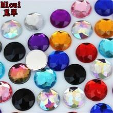 Micui 100шт 12mm круглый Кристалл горный хрусталь flatback красочные акриловые стразы камни для одежды ремесла украшения MC91