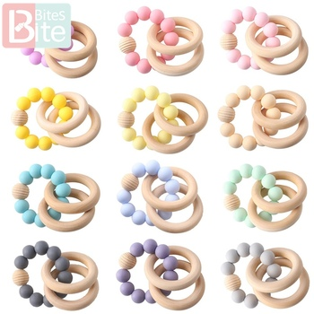 Bite Bites 1pc Baby Silicone Teether Baby Bracelets Rattle Silicone Threaded Beads Bangles Teething Jewelry Wooden Rings Rodent