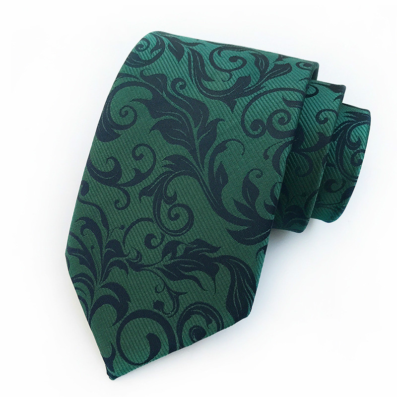 2018 New Silk Jacquard 8cm Tie Green Paisley Necktie Business Official Mans Necktie Wedding Party Accessories For Man