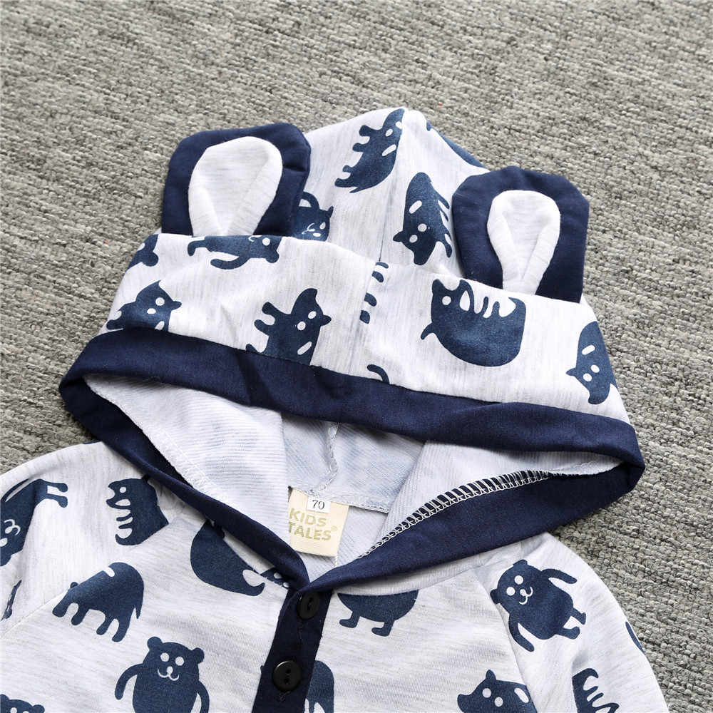 Baby Clothes Spring Baby Romper Kids Baby Girls Boys Jumpsuit Newborn Clothes Cartoon Hooded Long Sleeve Outfits Infant Clothing